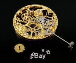 17 Jewels mechanical Analog gold Full Skeleton Hand Winding 6497 movement 004