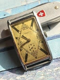 1920/30s Record Curvex Swiss Made Mens Watch For Parts Or Repair ONLY