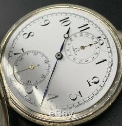 1920s Silver Omega Chronograph Pocket Watch Cal 18 SOPB Enamel Dial For Parts
