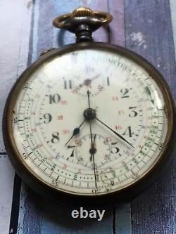 1920s Vintage Pocket Chronograph Watch Movement Valjoux 5 KVM Swiss FOR PARTS