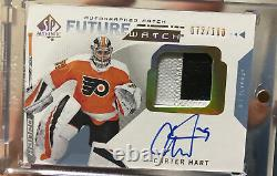 2018-19 SP Authentic Future Watch Auto Patch Rookie RC Carter Hart /100 damaged