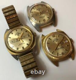 3 Vintage Rare Bitunia 23 Automatic Watches For Repair/parts
