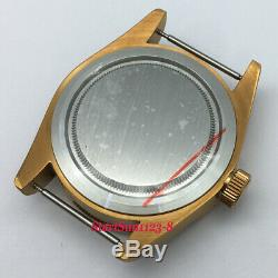 41mm Brass Plated Watch Case + coffee dial + hand fit ETA 2824 2836 movement C46