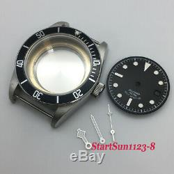 41mm Sapphire watch case black dial + watch hands fit ETA 2824 2836 movement