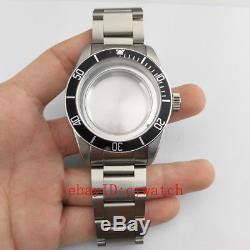 41mm Watch Case Black/Blue Bezel Fit Miyota 82 series ETA 2836/2824 Mingzhu 2813