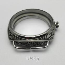 47mm 316L Stainless Steel Watch Case For Eta 6497 6498 Movements 26 mm Strap 1pc