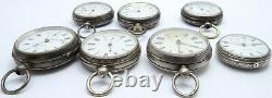 7 Antique silver cased pocket watches 1 fusee 6 not. NONE Working For Parts Only