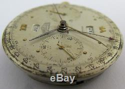 Angelus Chronograph Watch Movement 2 registers date & dial for parts