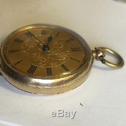 Antique 9ct Solid Gold Ladies Pocket Watch Not Working For Spares / Repair