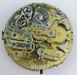 Antique Swiss Repeater Pocket Watch Movement for Parts or Restoration (J42)