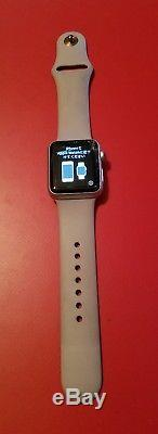 Apple Watch Series 1 38mm Silver Aluminum cracked screen, works perfectly