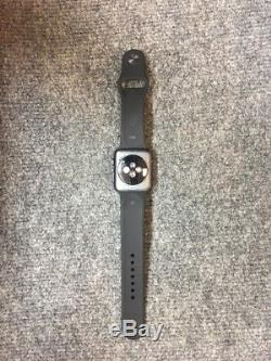 Apple Watch Series 2 42mm Aluminum Case Black Sport Band Icloud For Parts Only