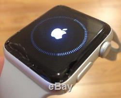 Apple Watch Series 2 42mm Aluminum Case White Sport Band (MNPJ2LL/A) CRACKED