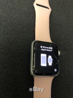 Apple Watch Series 3 42mm Silver Aluminium Pink Sport Band GPS Cracked Screen #8