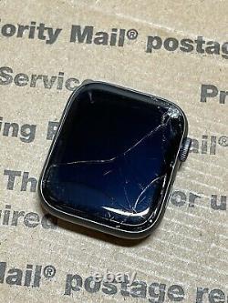 Apple Watch Series 4 44mm Space Gray Aluminum Case GPS Cellular Cracked Screen