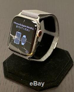 Apple Watch Series 4 44mm Stainless Steel Case Milanese Loop Band Cellular A1976
