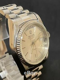 BULOVA SUPER SEVILLE AUTOMATIC DAY&DATE SILVER DIAL MEN'S WATCH For Parts