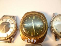 Caravelle Lot Of 6 1960's 1970's Automatic Watches For Restoration Or Parts