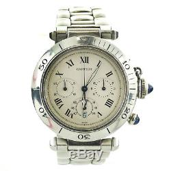 Cartier Pasha 1050 White Dial Chrono Stainless Steel Watch For Parts And Repairs