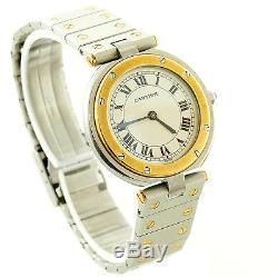 Cartier Santos Round 2-tone Ss/18k Yg Midsize Watch Good Cond For Parts/repairs