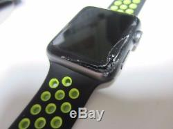 Cracked Works Apple Watch Series 2 42mm Aluminum Case Black Sport Band