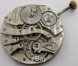 E. Howard 12s Pocket Watch Movement & Dial 17 jewels adjusted for parts. OF