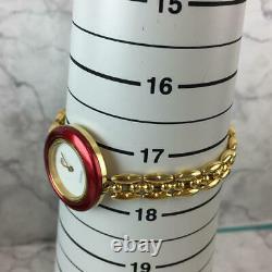 For Parts Gucci Change Bezel 6 Colors Quartz White Dial Gold Bangle Watch