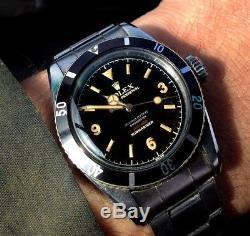 GENUINE ROLEX VINTAGE SUBMARINER 6538-6536 Big CROWN/LOLLIPOP Hands RADIUM 5510