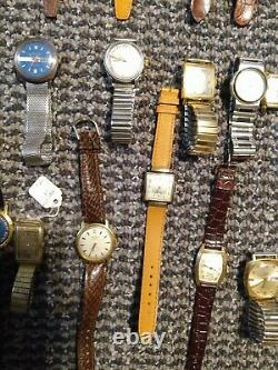 HUGE VINTAGE WATCH LOT FOR REPAIR OR PARTS SOLD AS IS Bulova Hamilton Seiko