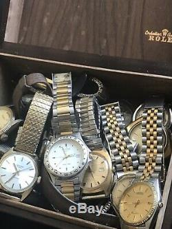 HUGE VINTAGE WATCH LOT OF 22 For Parts Repair Resale Nice Lot With ROLEX BOX