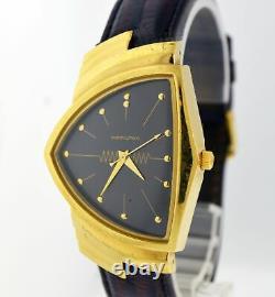 Hamilton Ventura 32mm Gold Tone Black Dial Men's Quartz Watch 6250A NOT WORKING
