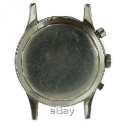 Heuer Vintage Patina Dial Big Eyes Chrono S. S. Mens Watch Head For Parts/repairs