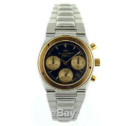 Iwc 2401959 Black+gold Dial/bezel Chrono Stainless Steel Watch For Parts/repairs
