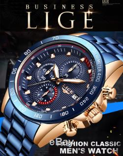 LIGE Stainless Steel Top Brand Luxury Business Watch Men with Brand Box