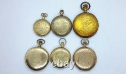 LOT ANTIQUE POCKET WATCHES GOLD FILLED PLATED FOR PARTS Elgin Waltham