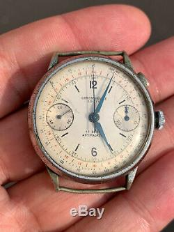 Landeron Hahn Chronograph Monopusher Working For Parts Repair Vintage Watch