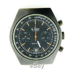 Le Jour 14.26 Incabloc Pvd Coated Chrono Black Dial Watch Head For Parts/repairs