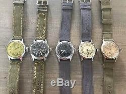 Lot Of Vintage Military WWII Watches A-17 US Air Force/Army Bulova Elgin Waltham