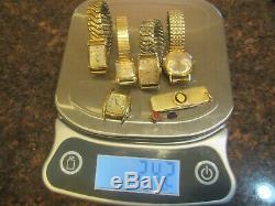 Lot VTG 10k/12K Gold Filled Watches BULAVA HAMILTON HELBROS Bands/CASE KNIFE