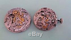 Lot of 2 vintage chronograph watch movement for parts, Venus 170, Landeron 51