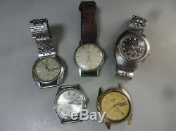 Lot of 5 1950-90's mechanical watches Seiko, Citizen, Orient for parts, repair