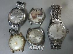 Lot of 5 1960-70's mechanical watches Seiko, Citizen, Orient for parts, repair