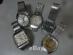 Lot of 5 Electronic, Quartz watches for parts Seiko Citizen Ricoh in 1970's