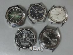 Lot of 5 Electronic, Tuning Fork, Quartz watches for parts Seiko, Citizen'70s