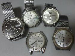 Lot of 5 Japan Automatic watches for parts Seiko Citizen in 1960-70's