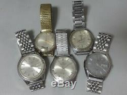 Lot of 5 Japan mechanical watches for parts Seiko Citizen, Orient in 1950-70's