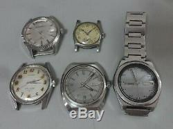 Lot of 5 Japan mechanical watches for parts Seiko Citizen Ricoh in 1940-70's