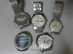 Lot of 5 Japan mechanical watches for parts Seiko Citizen in 1950-70's