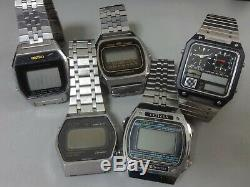 Lot of 5 Quartz Digital watches for parts Seiko Citizen Orient in 1970-80's