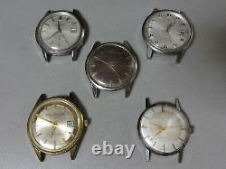 Lot of 5 Vintage 1950-1960's mechanical wrist watch Seiko, Citizen for parts